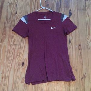 Maroon workout shirt